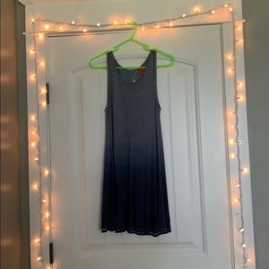 loose blue ombré mini dress, sleeveless